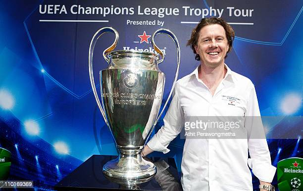 Steve McManaman UEFA Champions League Trophy Tour Ambassador poses during the UEFA Champions League Trophy Tour Asia 2011 Press Conference on March...