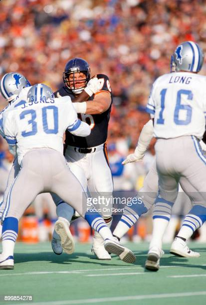 Steve McMichael of the Chicago Bears in action against the Detroit Lions during an NFL football game November 22 1987 at Soldier Field in Chicago...