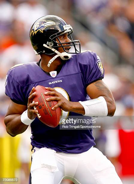 Steve McNair of the Baltimore Ravens looks to pass against San Diego Chargers on October 1, 2006 at M&T Bank Stadium in Baltimore, Maryland. The...