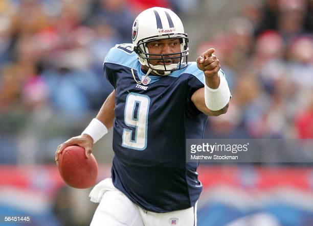 Steve McNair of the Tennessee Titans scrambles out of the pocket against the Tennessee Titans December 18 2005 at The Coliseum in Nashville Tennessee