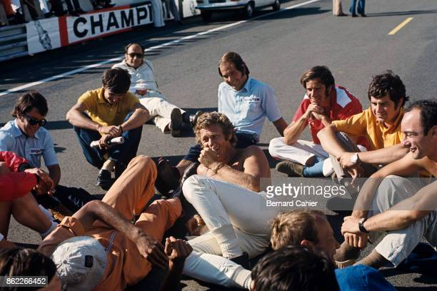 Steve McQueen 24 Hours of Le Mans Le Mans 14 June 1970 Hollywood star Steve McQueen relaxing with his crew while shooting his featrure film 'Le Mans'