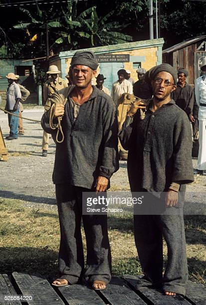 Steve McQueen and Dustin Hoffman in a scene from the film Papillon while on location in Jamaica