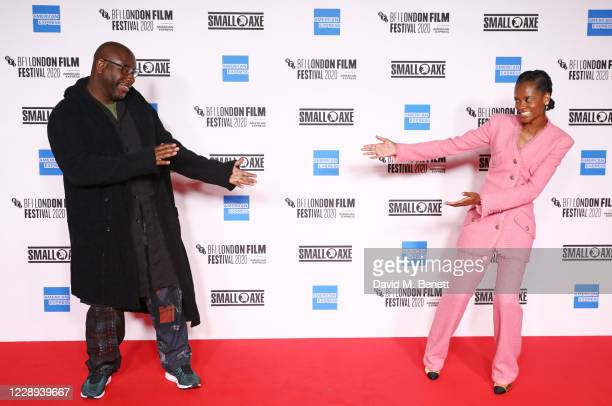 """Steve McQueen and Letitia Wright attend the European Premiere of """"Mangrove"""", the Opening Night screening of the 64th BFI London Film Festival, at BFI..."""