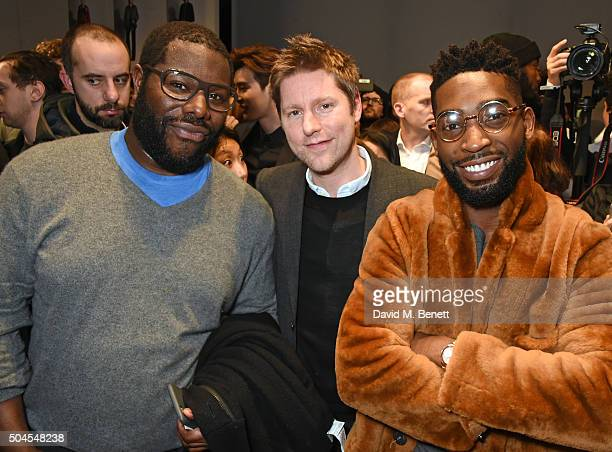 Steve McQueen Christopher Bailey Burberry Chief Creative and Chief Executive Officer and Tinie Tempah attend the Burberry Menswear January 2016 Show...
