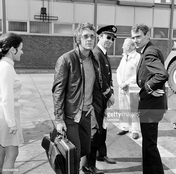 Steve McQueen pictured at London Heathrow Airport heading to Paris France for Le Mans 19th April 1970