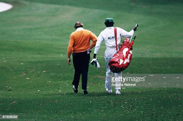Steve Melnyk with his caddie during the 1973 Masters Tournament at Augusta National Golf Club in April 1973 in Augusta Georgia