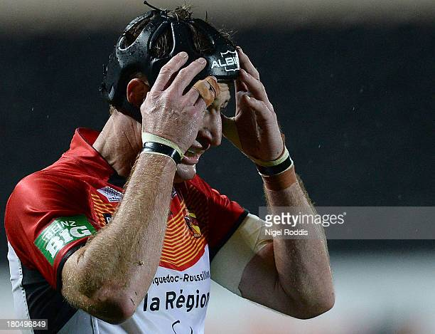 Steve Menzies of Catalan Dragons reacts during the Super League Play Off between Hull FC and Catalan Dragons at the KC Stadium on September 13 2013...