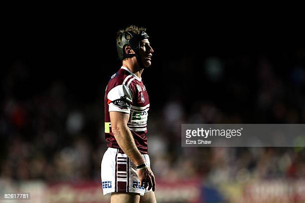 Steve Menzies of the Sea Eagles looks on during the round 25 NRL match between the Manly Warringah Sea Eagles and the Gold Coast Titans at Brookvale...