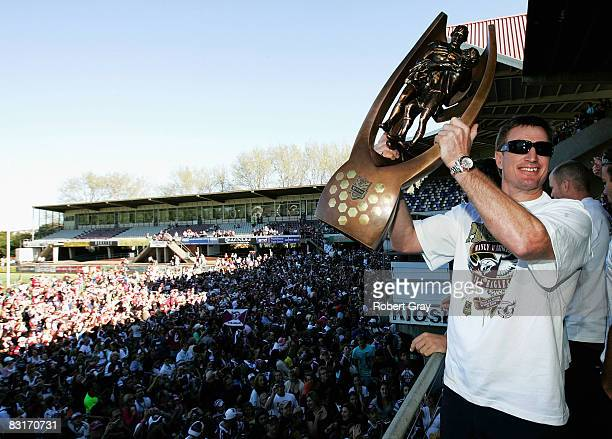 Steve Menzies of the Sea Eagles poses for a photo with the trophy at the Fan Day Carnival following the Manly Sea Eagles NRL Grand Final Victory...