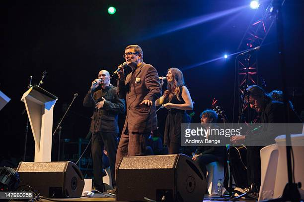 Steve Menzies, Paul Heaton and Jacqui Abbott perform on stage at Salford Lowry on July 6, 2012 in Manchester, United Kingdom.