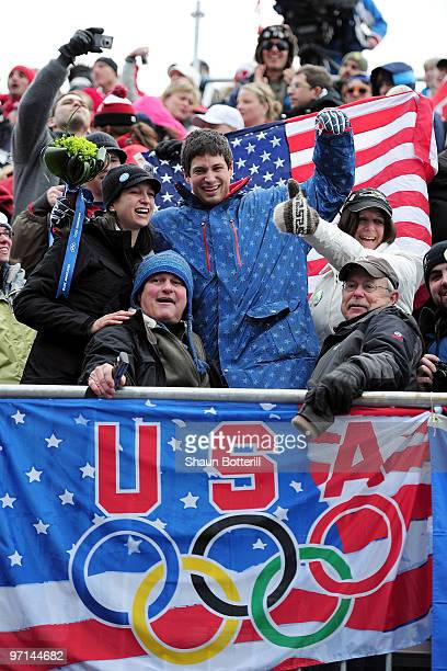 Steve Mesler of USA 1 celebrates with fans after winning the gold medal during the men's four man bobsleigh on day 16 of the 2010 Vancouver Winter...