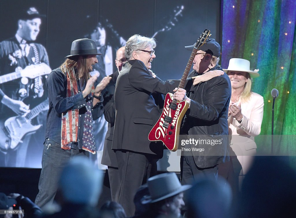 Steve Miller and Rick Nielsen of Cheap Trick onstage at the 31st Annual Rock And Roll Hall Of Fame Induction Ceremony at Barclays Center of Brooklyn on April 8, 2016 in New York City.