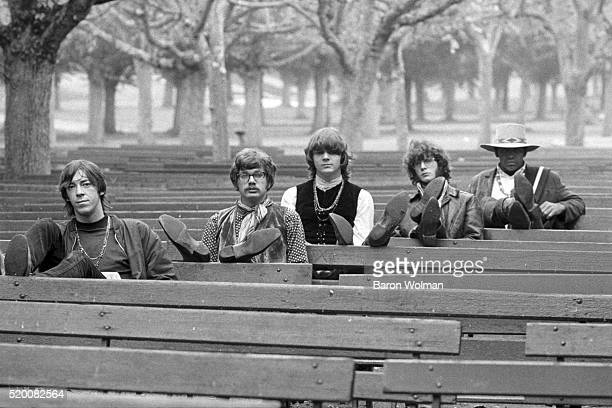 Steve Miller Band pose for a group portrait in Golden Gate Park San Francisco CA November 8 1967 From left to right Bozz Scaggs Jim Peterman Steve...