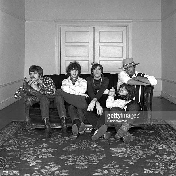 Steve Miller Band pose for a group portrait in San Francisco CA 1967 From left to right Jim Peterman Lonnie Turner Bozz Scaggs Tim Davis and Steve...