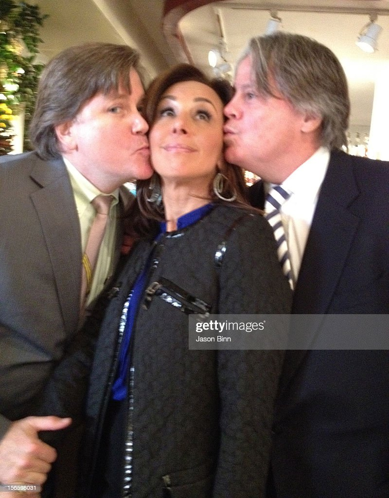 Steve Millington of Michael's Restaurant, Rosanna Scotto and guest pose circa October 2012 in New York City.