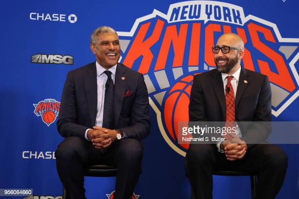 Steve Mills and David Fizdale of the New York Knicks during a press conference announcing David Fizdale as the new head coach on May 8 2018 at...