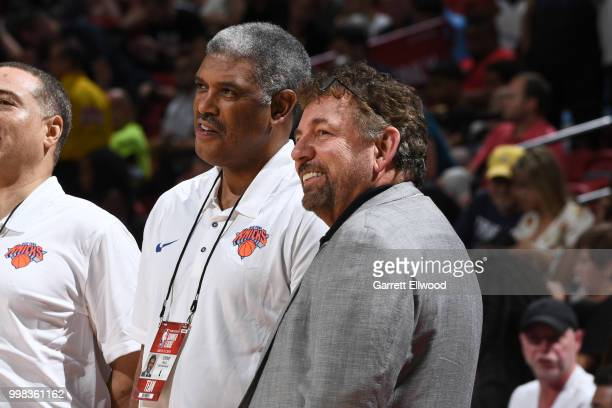 Steve Mills and James Dolan of the New York Knicks are seen before the game against the Los Angeles Lakers during the 2018 Las Vegas Summer League on...
