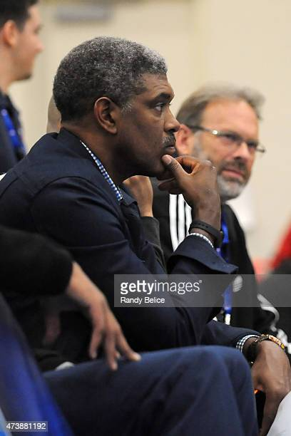 Steve Mills and Kurt Rambis of the New York Knicks observe the action during the 2015 NBA Draft Combine on May 15 2015 at Quest Multiplex in Chicago...