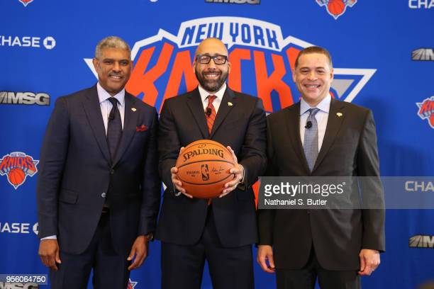 Steve Mills David Fizdale and Scott Perry of the New York Knicks during a press conference announcing David Fizdale as the new head coach on May 8...