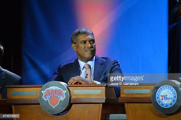 Steve Mills General Manager of the New York Knicks represents during the 2015 NBA Draft Lottery on May 19 2015 at the New York Hilton Midtown in New...