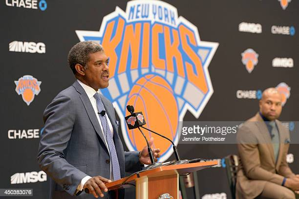 Steve Mills General Manager of the New York Knicks speaks at a press conference to announce Derek Fisher as Coach of the New York Knicks on June 10...
