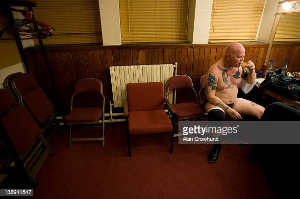 Steve Minelli sips tea in his dressing room before his bout at The Assembly Hall on February 13 2012 in Worthing England