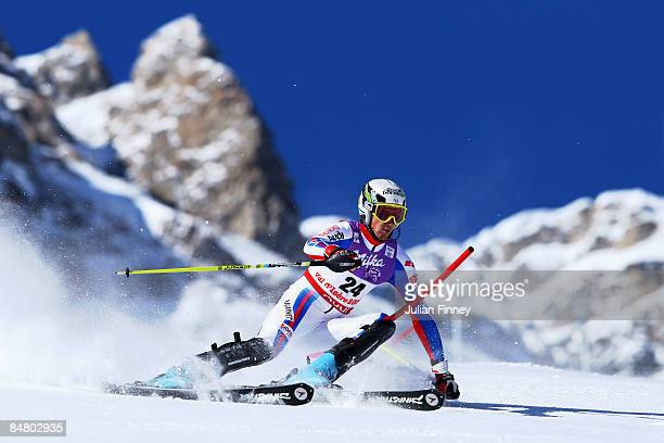 Steve Missillier of France skis during the Men's Slalom event held on the Face de Bellevarde course on February 15 2009 in Val d'Isere France