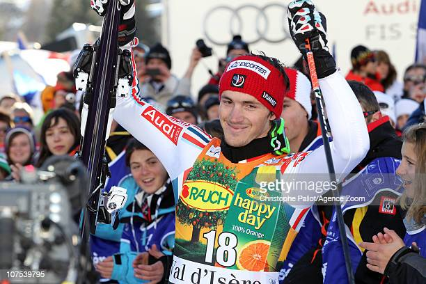 Steve Missillier of France takes 3rd place during the Audi FIS Alpine Ski World Cup Men's Slalom December 12 2010 in Val d'Isere France