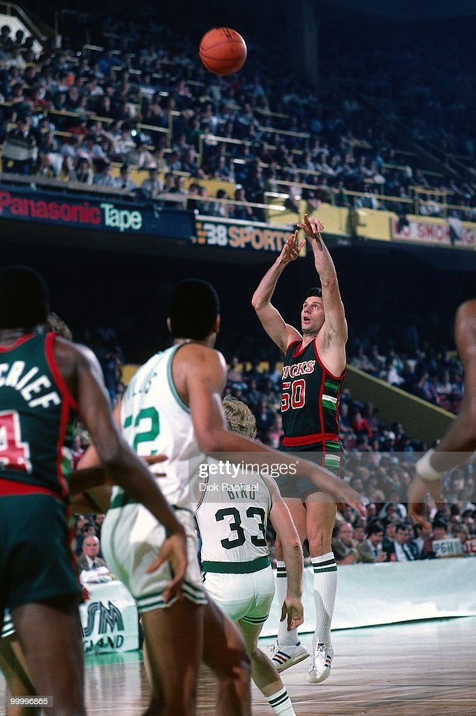 Steve Mix #50 of the Milwaukee Bucks shoots a jumper against the Boston Celtics during a game played in 1983 at the Boston Garden in Boston, Massachusetts.