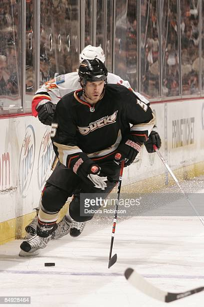 Steve Montador of the Anaheim Ducks drives the puck alongside the boards during the game against the Calgary Flames on February 11 2009 at Honda...
