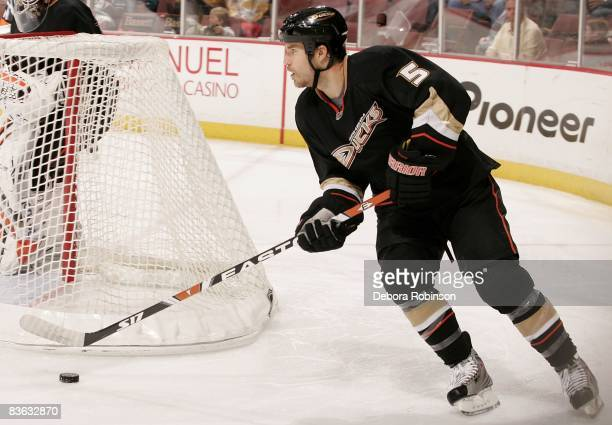 Steve Montador of the Anaheim Ducks moves the puck behind the net against the Florida Panthers during the game on November 9 2008 at Honda Center in...