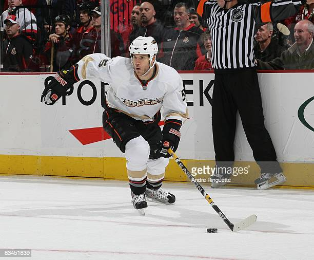 Steve Montador of the Anaheim Ducks skates against the Ottawa Senators at Scotiabank Place on October 24 2008 in Ottawa Ontario Canada