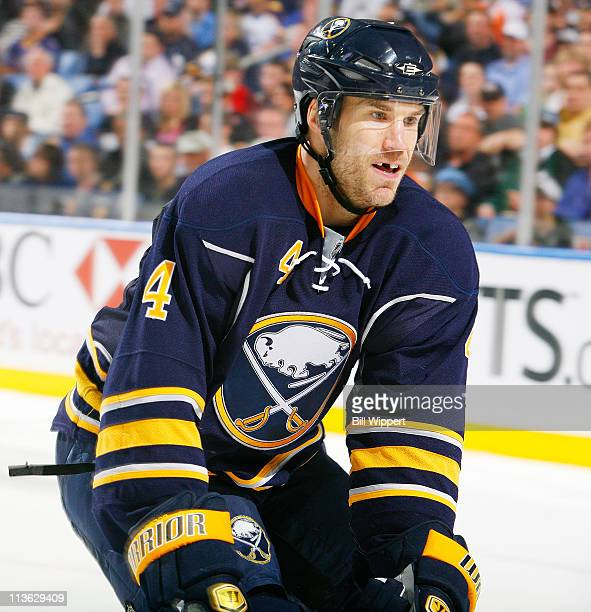 Steve Montador of the Buffalo Sabres defends against the Philadelphia Flyers in Game Six of the Eastern Conference Quarterfinals during the 2011 NHL...