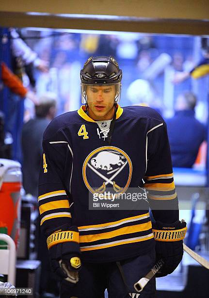 Steve Montador of the Buffalo Sabres heads to the dressing after warming up to play the Vancouver Canucks at HSBC Arena on November 15 2010 in...
