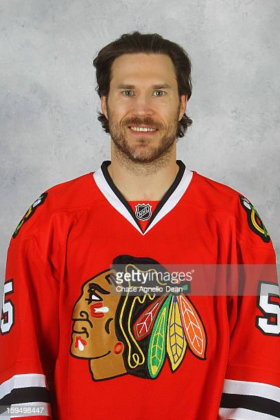 Steve Montador of the Chicago Blackhawks poses for his official headshot for the 20122013 season on January 13 2013 at the United Center in Chicago...