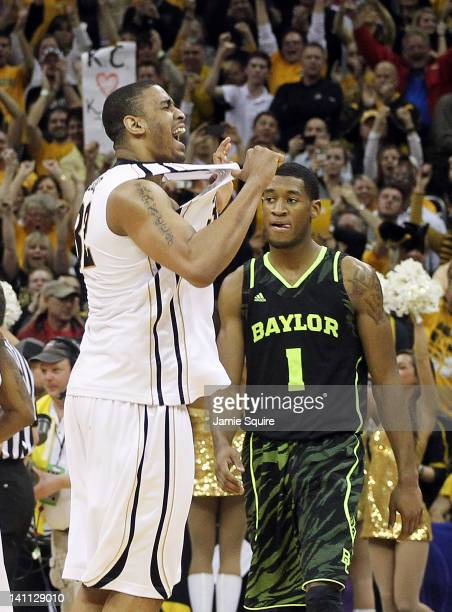 Steve Moore of the Missouri Tigers celebrates after the Tigers defeated the Perry Jones III and the Baylor Bears 90 to 75 to win the championship...