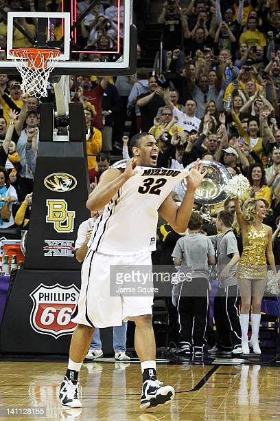 Steve Moore of the Missouri Tigers celebrates after they defeated the Missouri Tigers 90 to 75 in the championship game of the 2012 Big 12 Men's...