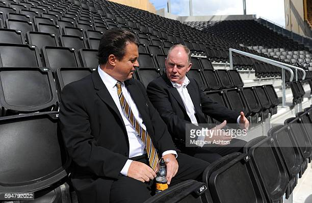 Steve Morgan the owner / chairman of Wolverhampton Wanderers and Jez Moxey the CEO of Wolverhampton Wanderers take a look at the new Stan Cullis stand