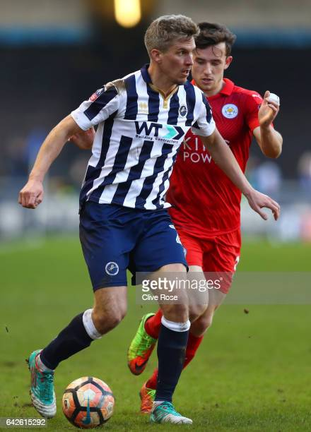 Steve Morison of Millwall is put under pressure from Ben Chilwell of Leicester City during The Emirates FA Cup Fifth Round match between Millwall and...