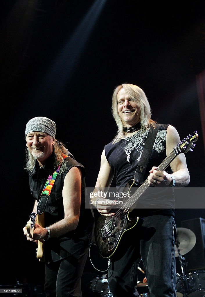 Steve Morse (R) and Roger Glover of Deep Purple perform on stage during their concert at the Sydney Entertainment Centre on April 28, 2010 in Sydney, Australia.