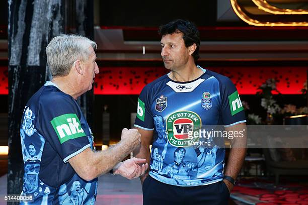 Steve Mortimer speaks to NSW Blues coach Laurie Daley during a jersey presentation to the winning New South Wales State of Origin captains at The...