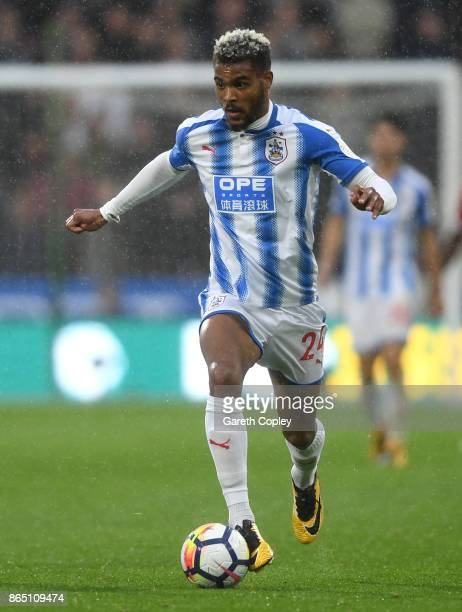 Steve Mounie of Huddersfield during the Premier League match between Huddersfield Town and Manchester United at John Smith's Stadium on October 21...