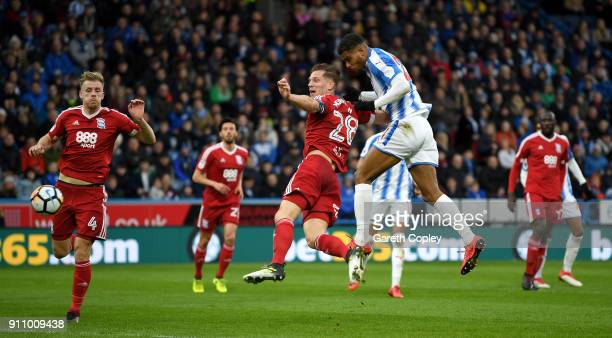 Steve Mounie of Huddersfield scores the opening goal during The Emirates FA Cup Fourth Round match between Huddersfield Town and Birmingham City at...