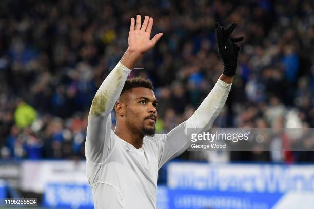 Steve Mounie of Huddersfield Town applauds fans after the Sky Bet Championship match between Huddersfield Town and Nottingham Forest at John Smith's...