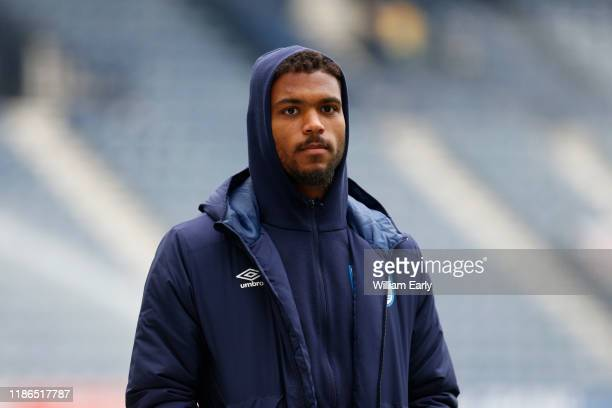 Steve Mounie of Huddersfield Town before the Sky Bet Championship match between Preston North End and Huddersfield Town at Deepdale on November 09...