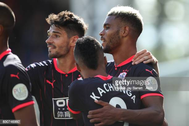 Steve Mounie of Huddersfield Town celebrates after scoring a goal to make it 03 during the Premier League match between Crystal Palace and...