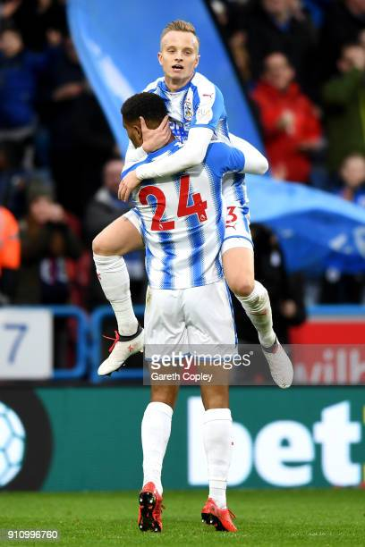 Steve Mounie of Huddersfield Town celebrates scoring his side's first goal with Florent Hadergjonaj of Huddersfield Town during The Emirates FA Cup...