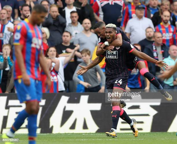 Steve Mounie of Huddersfield Town celebrates scoring his sides second goal during the Premier League match between Crystal Palace and Huddersfield...