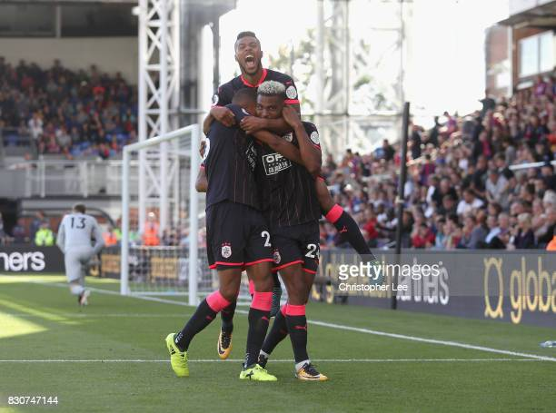 Steve Mounie of Huddersfield Town celebrates scoring his sides third goal during the Premier League match between Crystal Palace and Huddersfield...
