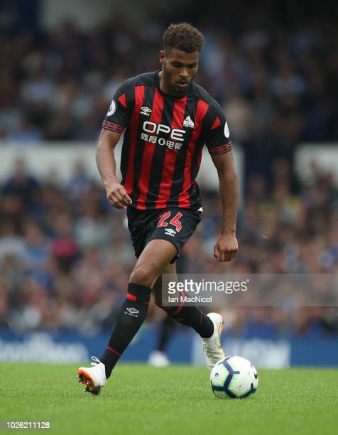 Steve Mounie of Huddersfield Town controls the ball during the Premier League match between Everton and Huddersfield Town FC at Goodison Park on...